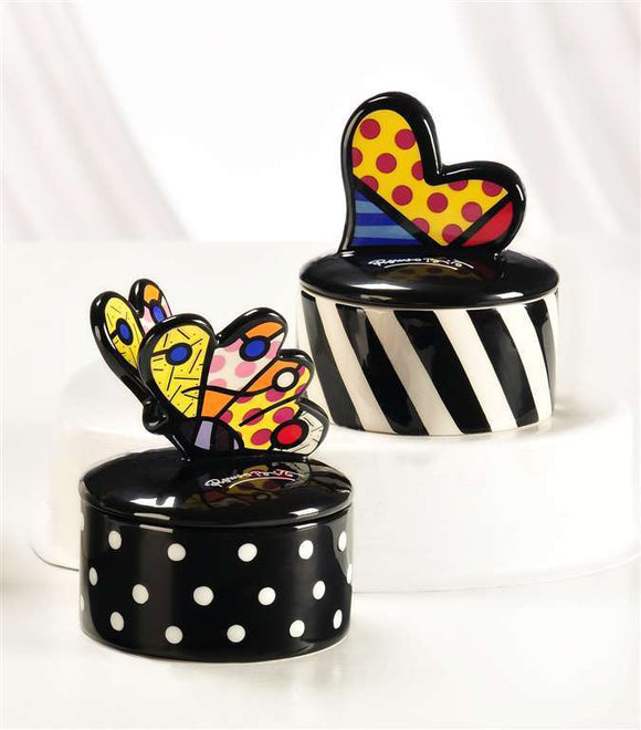 ROMERO BRITTO ROUND WITH BUTTERFLY AND HEART TRINKET BOXES