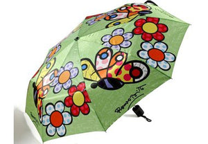 ROMERO BRITTO TRAVEL UMBRELLA- GREEN WITH BUTTERFLIES & FLOWERS