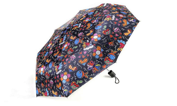ROMERO BRITTO TRAVEL UMBRELLA- BLACK WITH ASSORTED POP ART