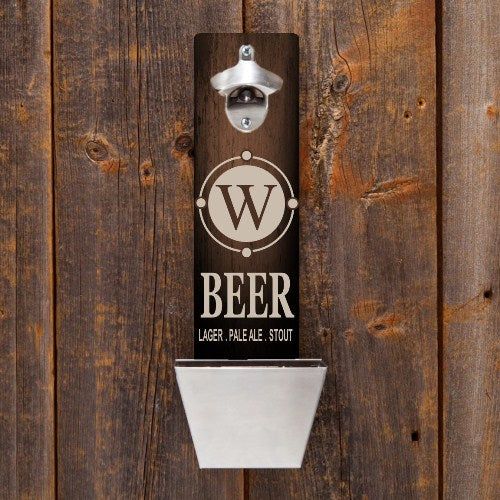 Personalized Wall Mounted Bottle Opener & Cap Catcher With