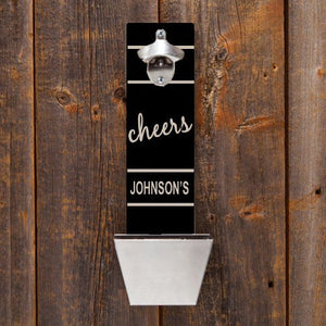 "Personalized Wall Mounted Bottle Opener & Cap Catcher With ""Cheers"" Design"