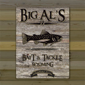 "Weathered Wood ""Fish"" Cabin Canvas Sign"