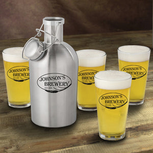 Personalized Stainless Steel Beer Growler with Pint Glass Set- Weizen Design