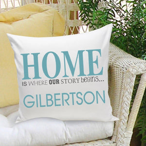 "Personalized ""Where Our Story Begins"" In Blue Throw Pillow"