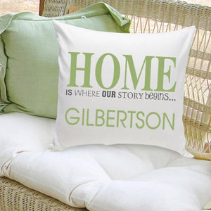 "Personalized ""Where Our Story Begins"" In Green Throw Pillow"