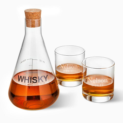 Whiskey Decanter in Wood Crate with Personalized Set of 2 Low Ball Glasses