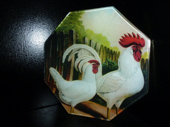 White Italian Roosters Octagon Decoupage Tray