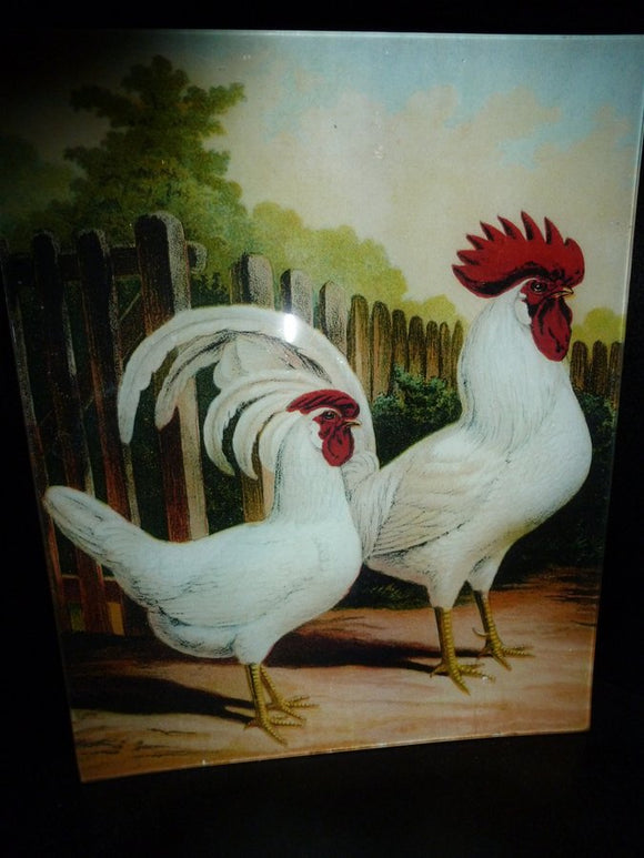 White Italian Roosters Decoupage Tray