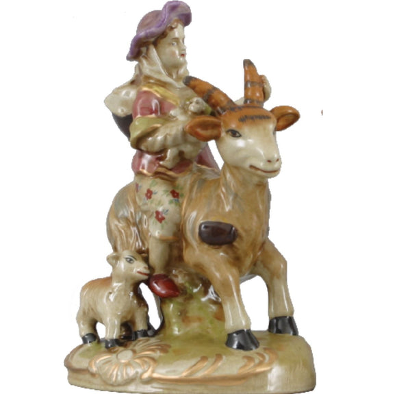 Staffordshire Reproduction Woman Riding Goat