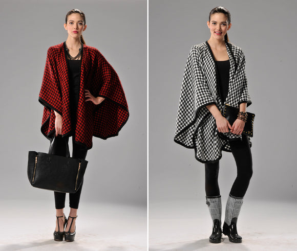 Houndstooth Cape/Wrap- Black & Red OR Black & White