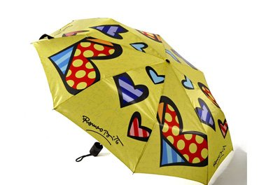 ROMERO BRITTO TRAVEL UMBRELLA- YELLOW WITH HEARTS