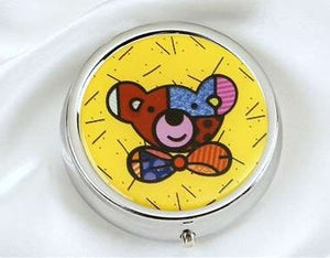 ROMERO BRITTO  TEDDY BEAR  PILL BOX  W/MIRROR/DIVIDERS
