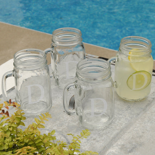 Personalized Single Initial Classic Jar Glass Set