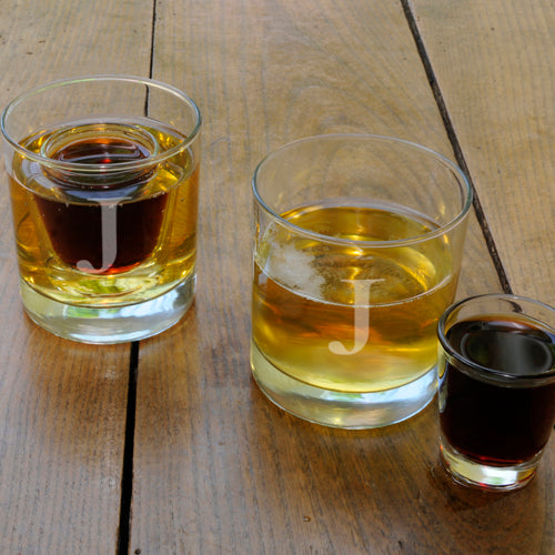 Lowball Shot Set with Two Personalized Lowball Glasses & Two Shot Glasses