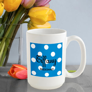 Personalized Polka Dots Coffee Mug In Sapphire