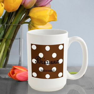 Personalized Polka Dots Coffee Mug In Cocoa