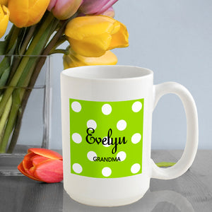 Personalized Polka Dots Coffee Mug In Green Apple
