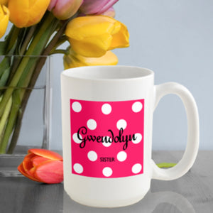 Personalized Polka Dots Coffee Mug In Tutti Frutti