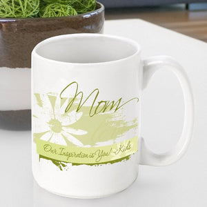 Personalized Mother's Day Coffee Mug- Delicate Daisy Design