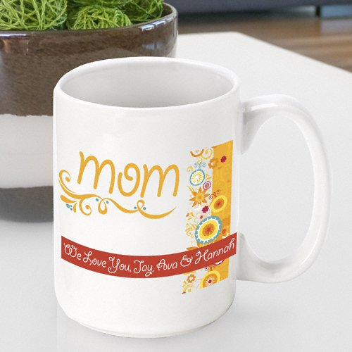 Personalized Mother's Day Coffee Mug- Sunshine & Flowers Design