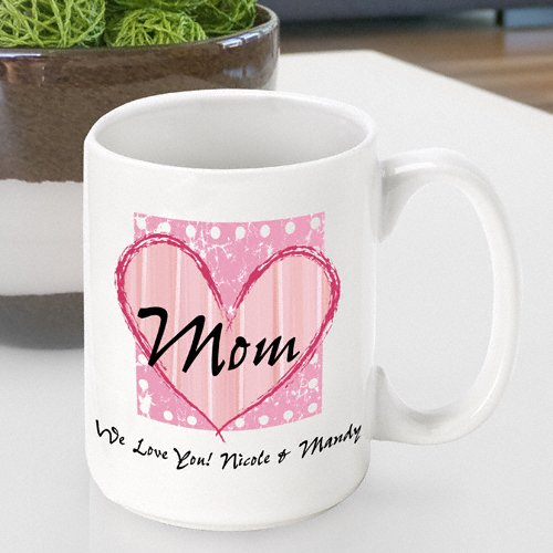 Personalized Mother's Day Coffee Mug- Shabby Chic Mom Design