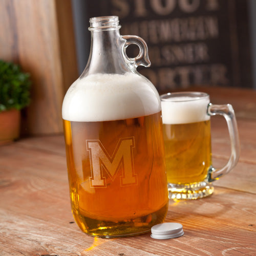 Personalized Glass Growler With Initial