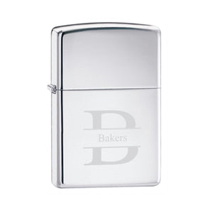 Zippo High Polish Chrome Lighter With Stamped Monogram