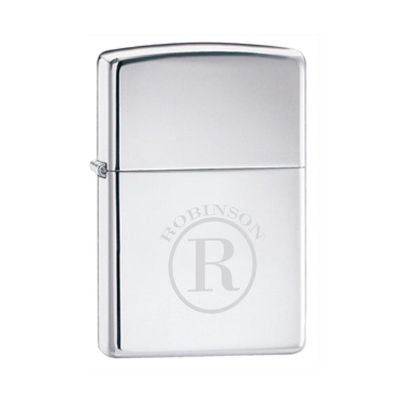 Zippo High Polish Chrome Lighter With Circle Monogram