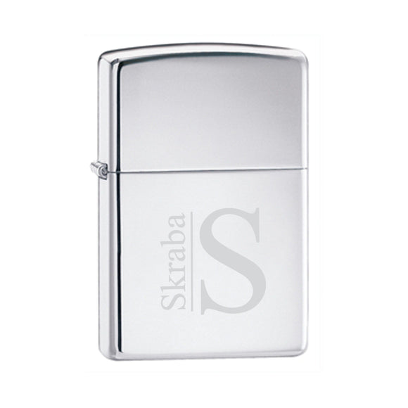 Zippo High Polish Chrome Lighter With Modern Monogram