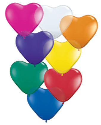 6 inch Hearts JEWEL assorted balloons (100 count) Qualatex
