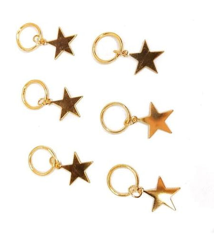 Living the Gleam GOLD STARS (hair rings x 6)