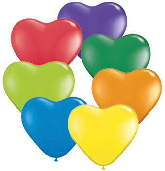 6 inch Hearts CARNIVAL assorted balloons (100 count) Qualatex