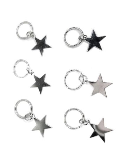 Living the Gleam SILVER STARS (hair rings x 6)