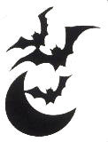 Bats and Moon glitter tattoo stencil