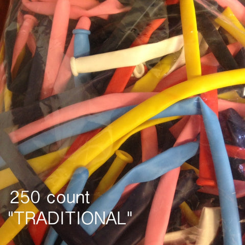 260Q Traditional assorted balloons (250 count) Qualatex