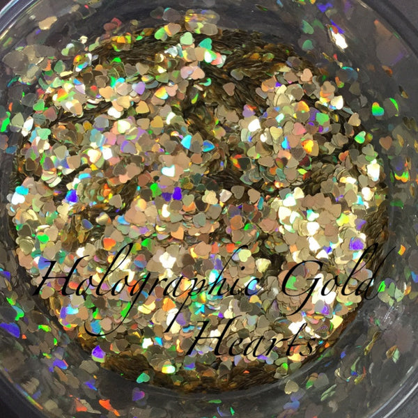 loose holographic GOLD hearts small jar