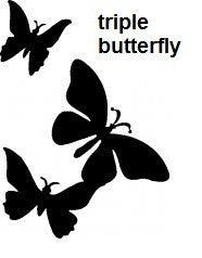 Triple Butterfly TAG glitter tattoo stencil