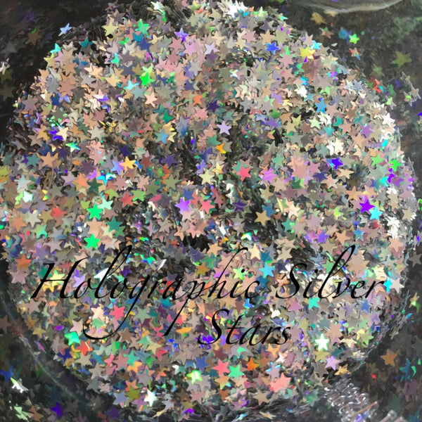 loose holographic SILVER stars small jar
