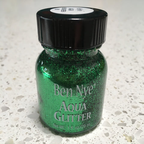 Ben Nye NEON GREEN Aqua Glitter Paint 29ml
