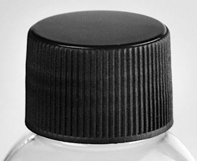 Image of Case of 258 White PET Plastic Boston Round Bottle and Black Threaded Cap with Induction Seal 12 oz