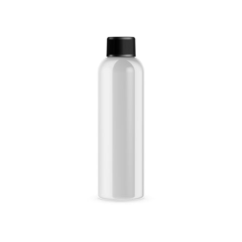 Case of 315 White PET Plastic Cosmo Bottle and Black Threaded Cap with Induction Seal 8 oz