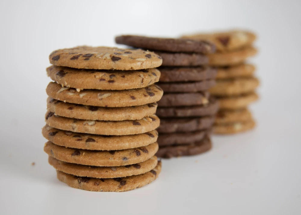 three stacks of cookies