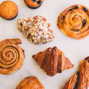 assortment of breakfast pastry