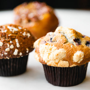 blueberry muffin and bran muffin