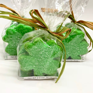 green shamrock St Patrick day sugar cookies in a bag