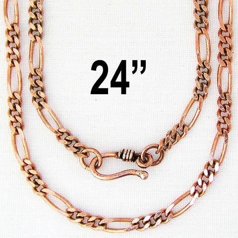 "Solid Copper 24"" Figaro Necklace Chain NC41 Solid Copper 4mm Italian Style Necklace Chain 24-inch celtic-copper-jewelry.myshopify.com"