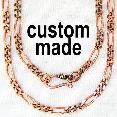 Custom Size Fine Copper Figaro Chain Necklace NCC41 Solid Copper Necklace Choice of Length and Clasp celtic-copper-jewelry.myshopify.com