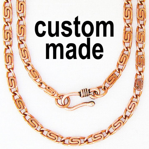 Custom Size Fine Celtic Scroll Chain Necklace NC61, Solid Copper Custom Length Necklace With Choice of Clasp celtic-copper-jewelry.myshopify.com