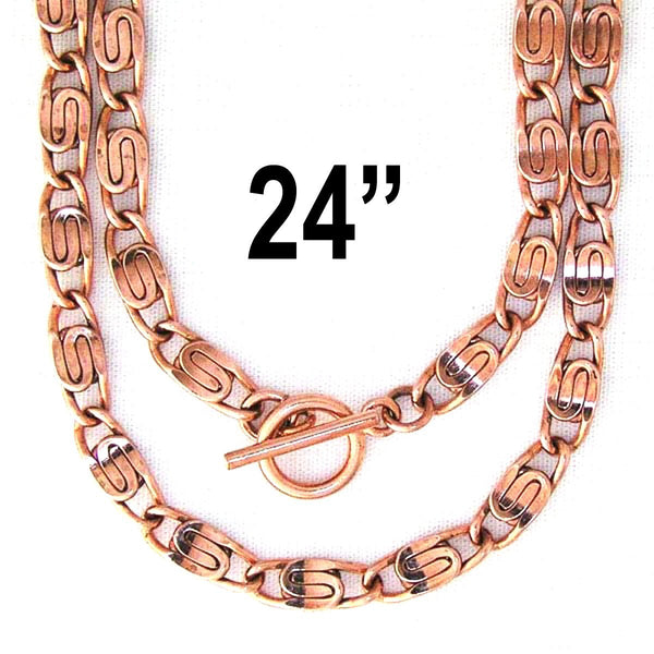 "Copper Celtic Scroll Chain Necklace 24-inch NC66 Solid Copper 5mm Scroll Chain Necklace 24"" Length celtic-copper-jewelry.myshopify.com"