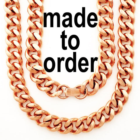 Custom Size Solid Copper Chain Necklace Heavy-Duty Cuban Curb Necklace NC79, Men's Solid Copper Jewelry Custom Necklaces celtic-copper-jewelry.myshopify.com